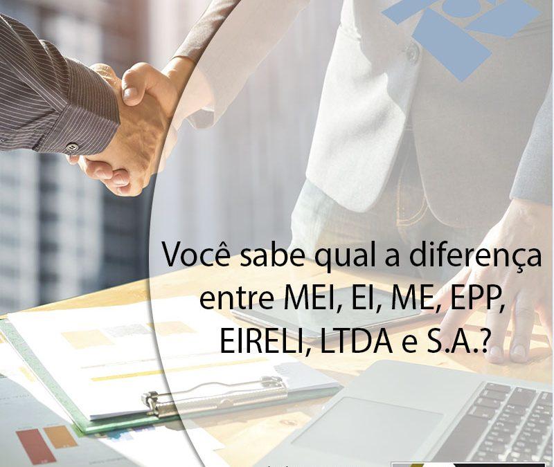 Você sabe qual a diferença entre MEI, EI, ME, EPP, EIRELI, LTDA e S.A.?