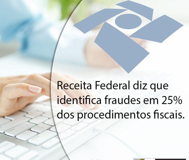 Receita Federal diz que identifica fraudes em 25% dos procedimentos fiscais.