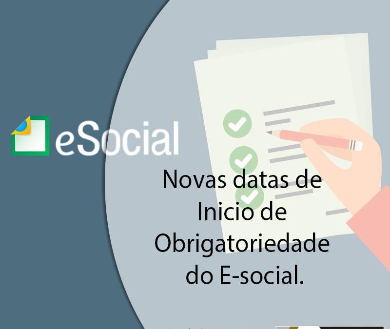 Novas datas de Inicio de Obrigatoriedade do E-social.