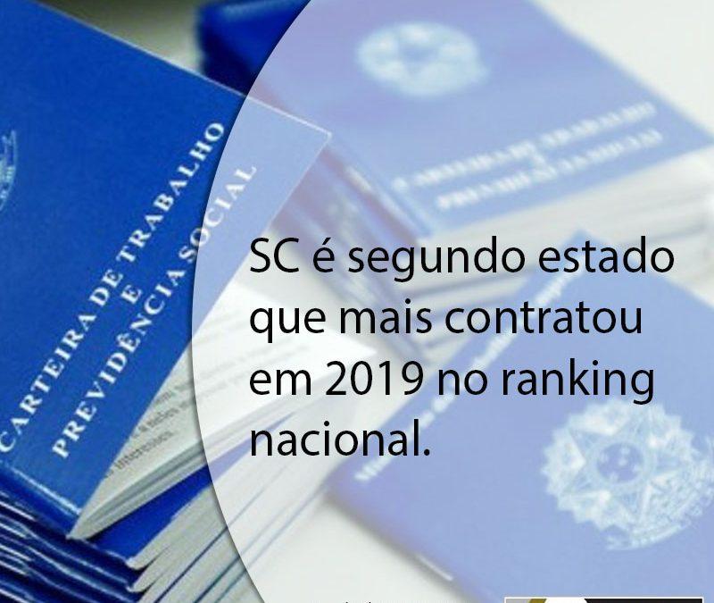 SC é segundo estado que mais contratou em 2019 no ranking nacional.
