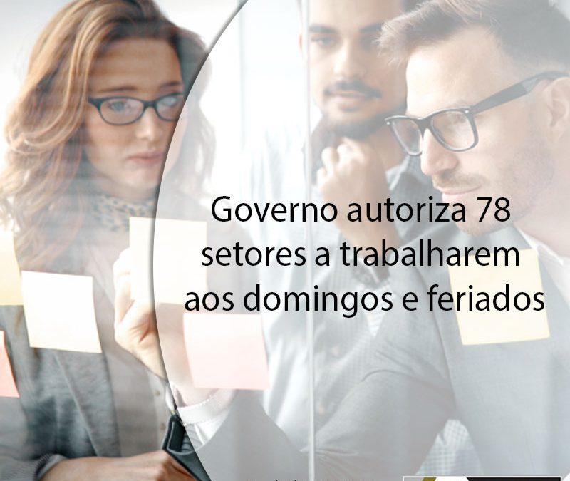 Governo autoriza 78 setores a trabalharem aos domingos e feriados.