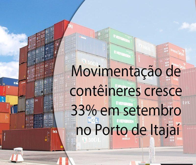 Movimentação de contêineres cresce 33% em setembro no Porto de Itajaí.