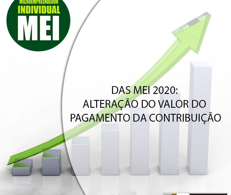 DAS MEI 2020: ALTERAÇÃO DO VALOR DO PAGAMENTO DA CONTRIBUIÇÃO.