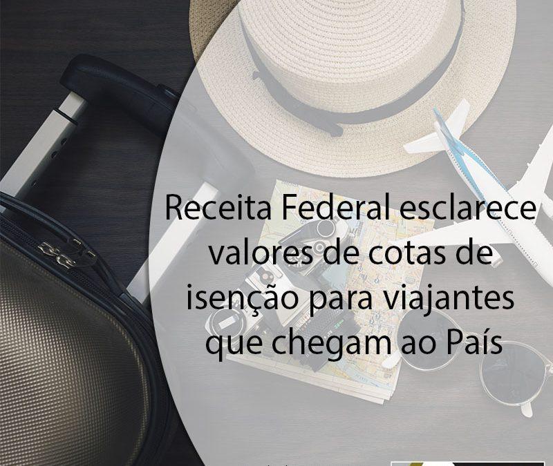 Receita Federal esclarece valores de cotas de isenção para viajantes que chegam ao País